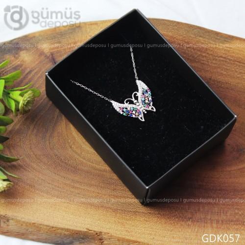 Kelebek Gümüş Taşlı  Kolye - GDK057