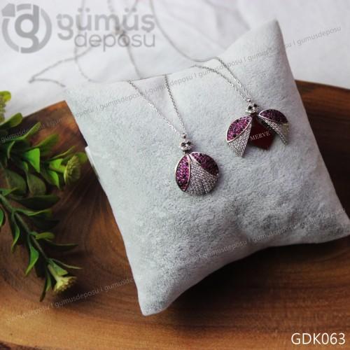 Açılır Kanatlı Uğur Böceği Gümüş Kolye - GDK063