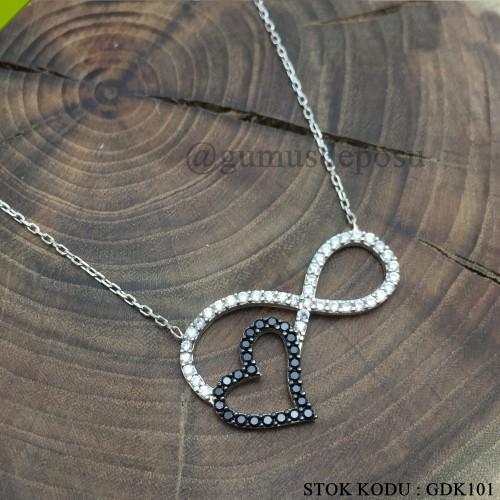 Kalp Motifli Sonsuzluk Gümüş Kolye - GDK101