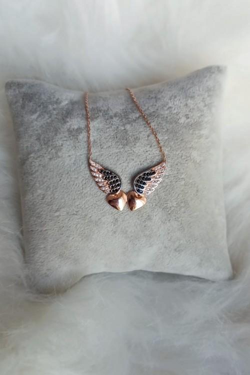 Kalp Figürlü Kanat Gümüş Kolye - GDK095