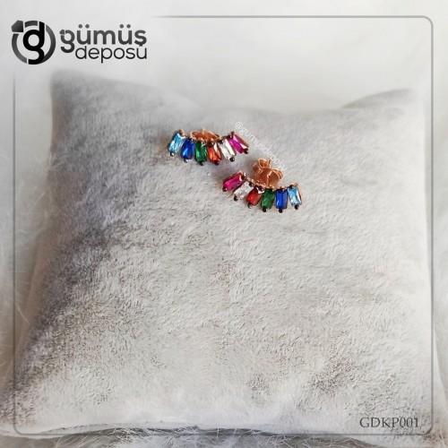 Oniks Taşlı Renkli Gümüş Küpe- GDKP001